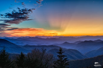sunset, god, beams, light, blue, ridge, parkway, north, Carolina