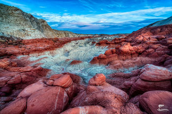 sunset, top, red, boulders, toadstools, south, west, Utah