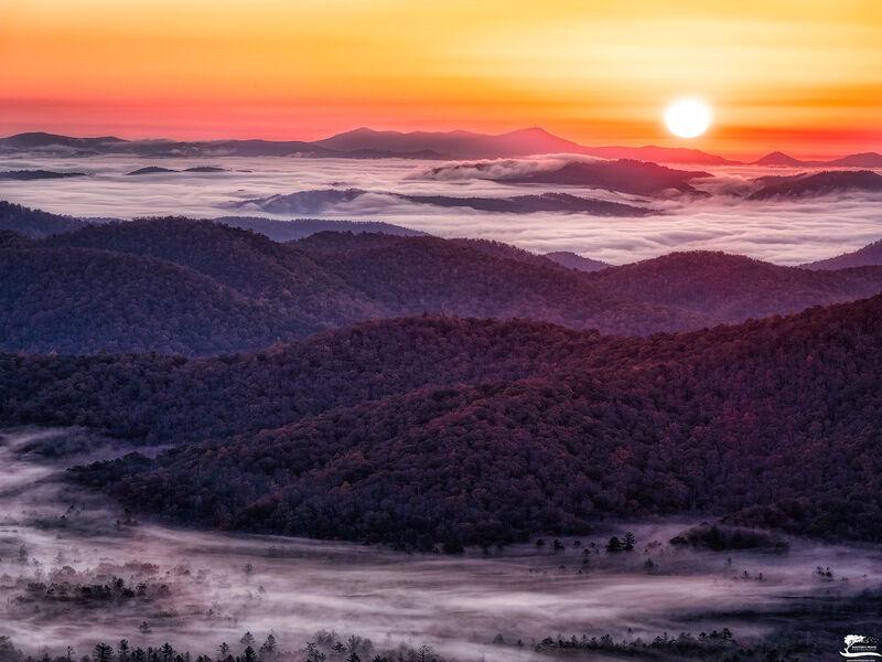 fog, valley, mountain, sun, blue, ridge, parkway