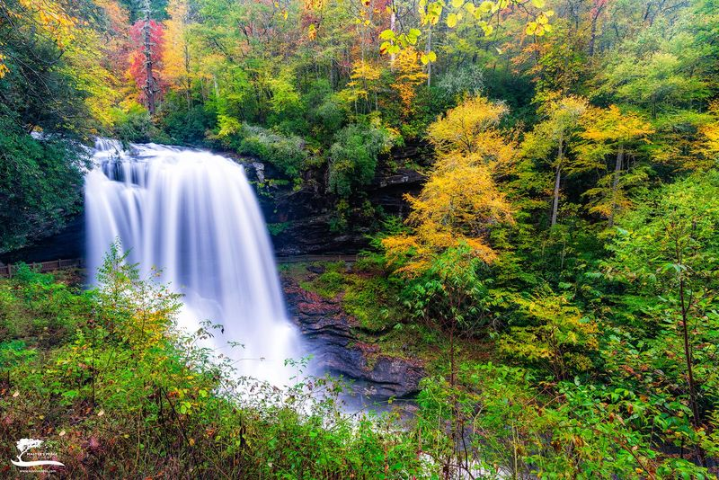 early, fall, colors, dry, falls, highlands, north, Carolina