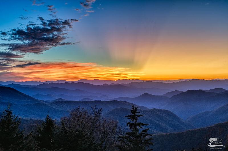 sunset, god, beams, light, blue, ridge, parkway, north, Carolina