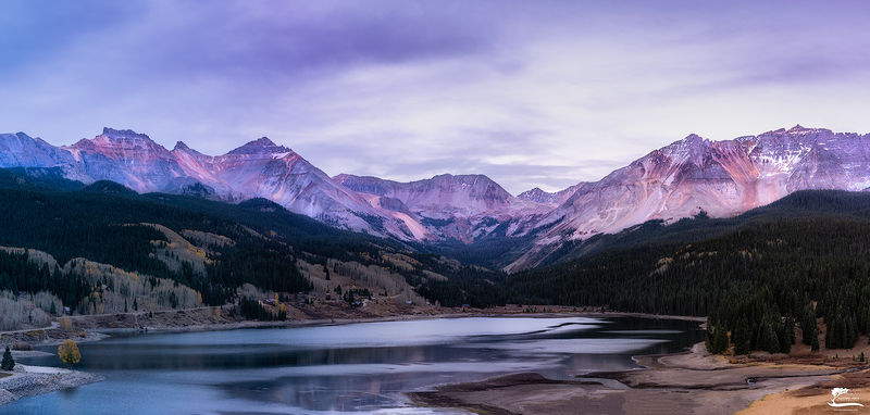 pano, colorado, mountains, sunset, glow