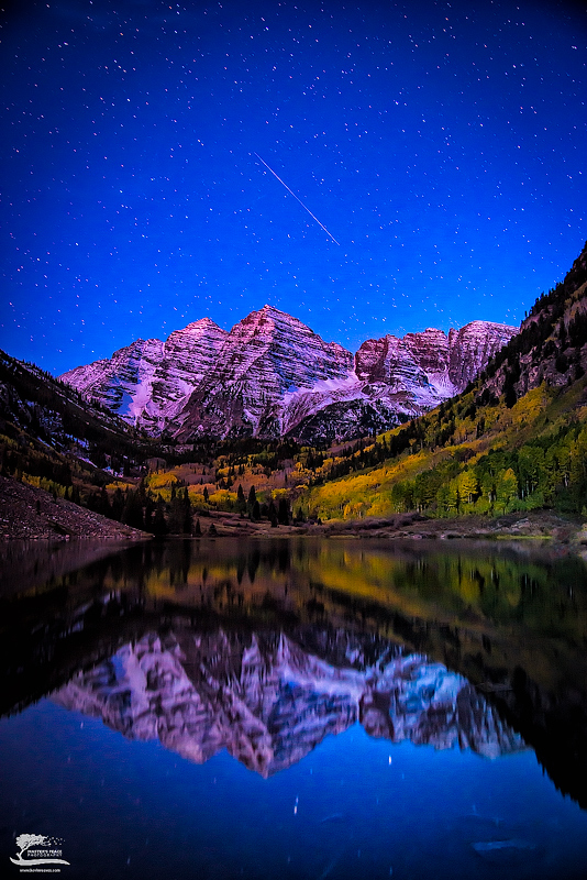 stars, night, maroon, fall, mountains, aspen, color