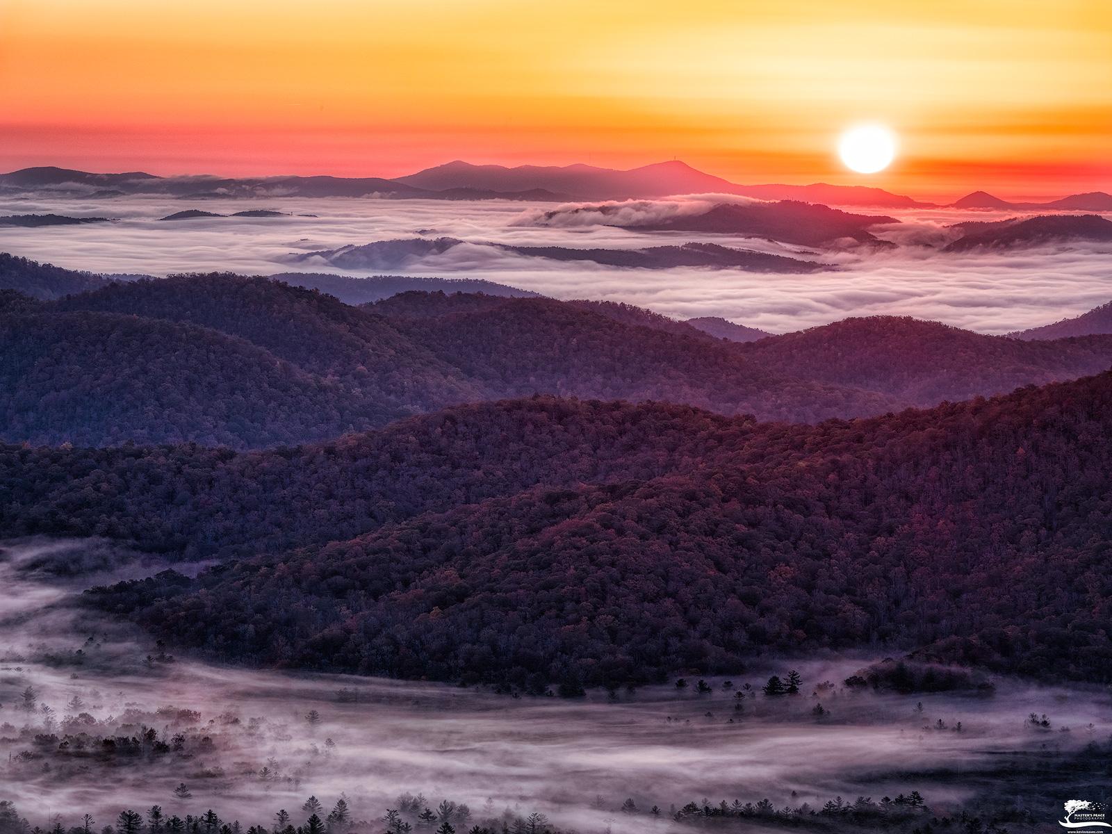 fog, valley, mountain, sun, blue, ridge, parkway, photo