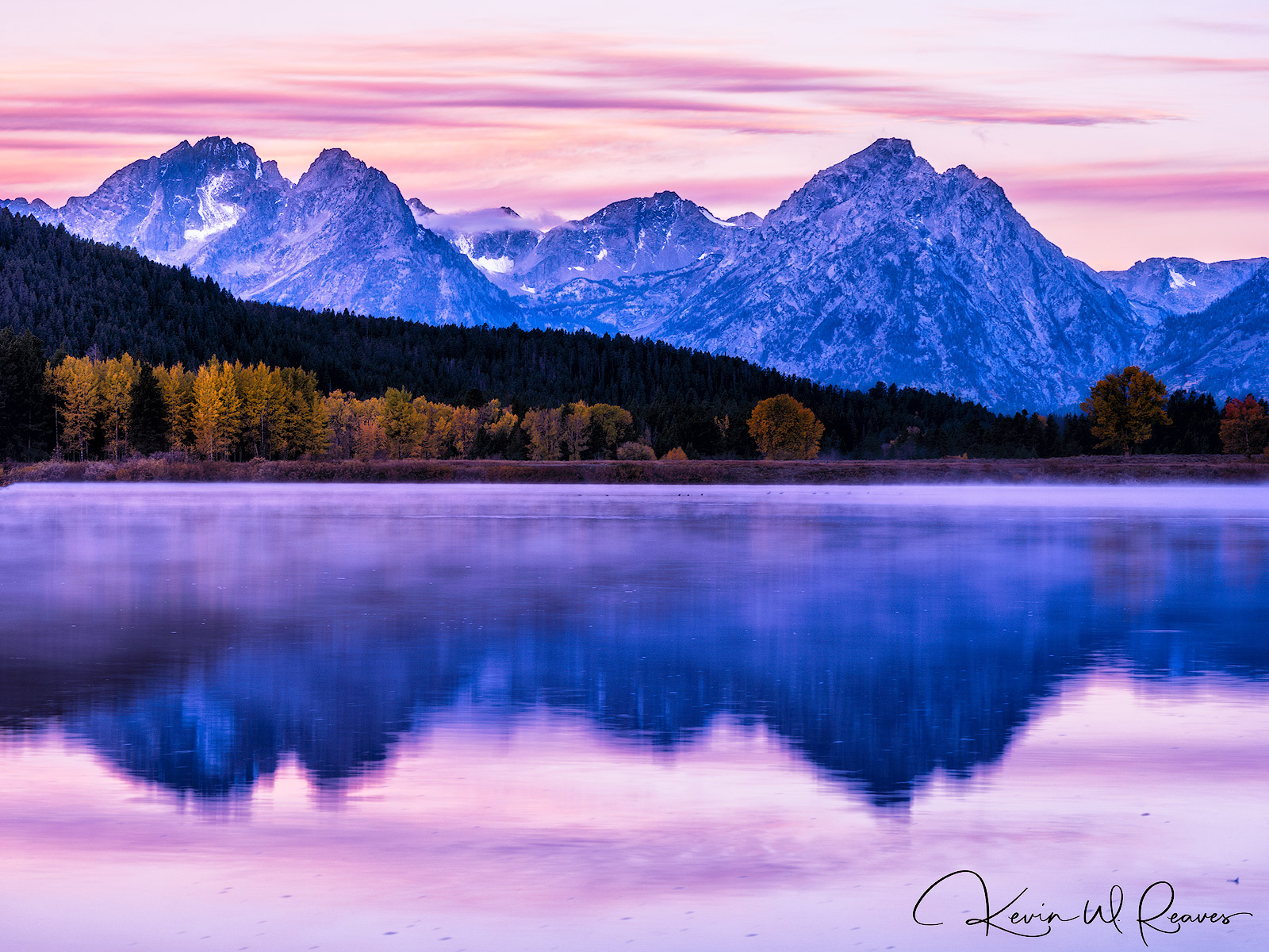 This was one of two mornings we had clouds, and I had hoped the clouds and color would have been more above Mt. Moran.  But in...