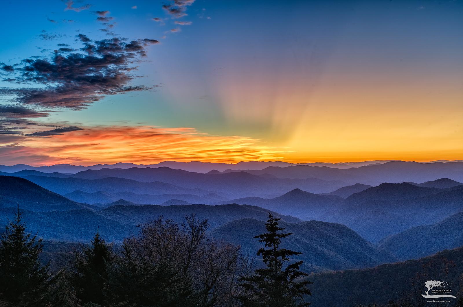 sunset, god, beams, light, blue, ridge, parkway, north, Carolina, photo
