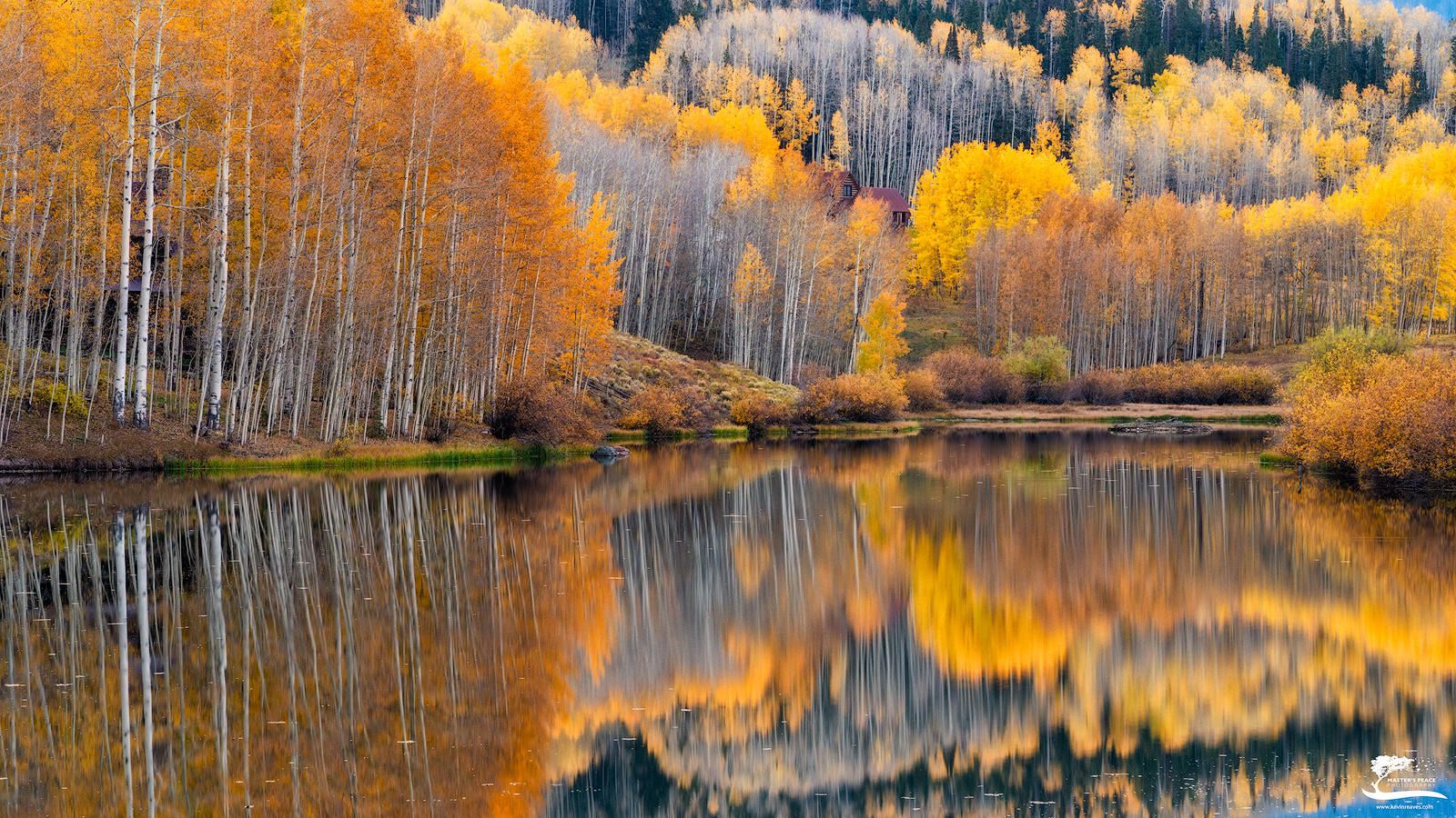 A beautiful and peaceful scene, though only 30 yards from the busy roadway.  The reflections and peak Fall color were right on...
