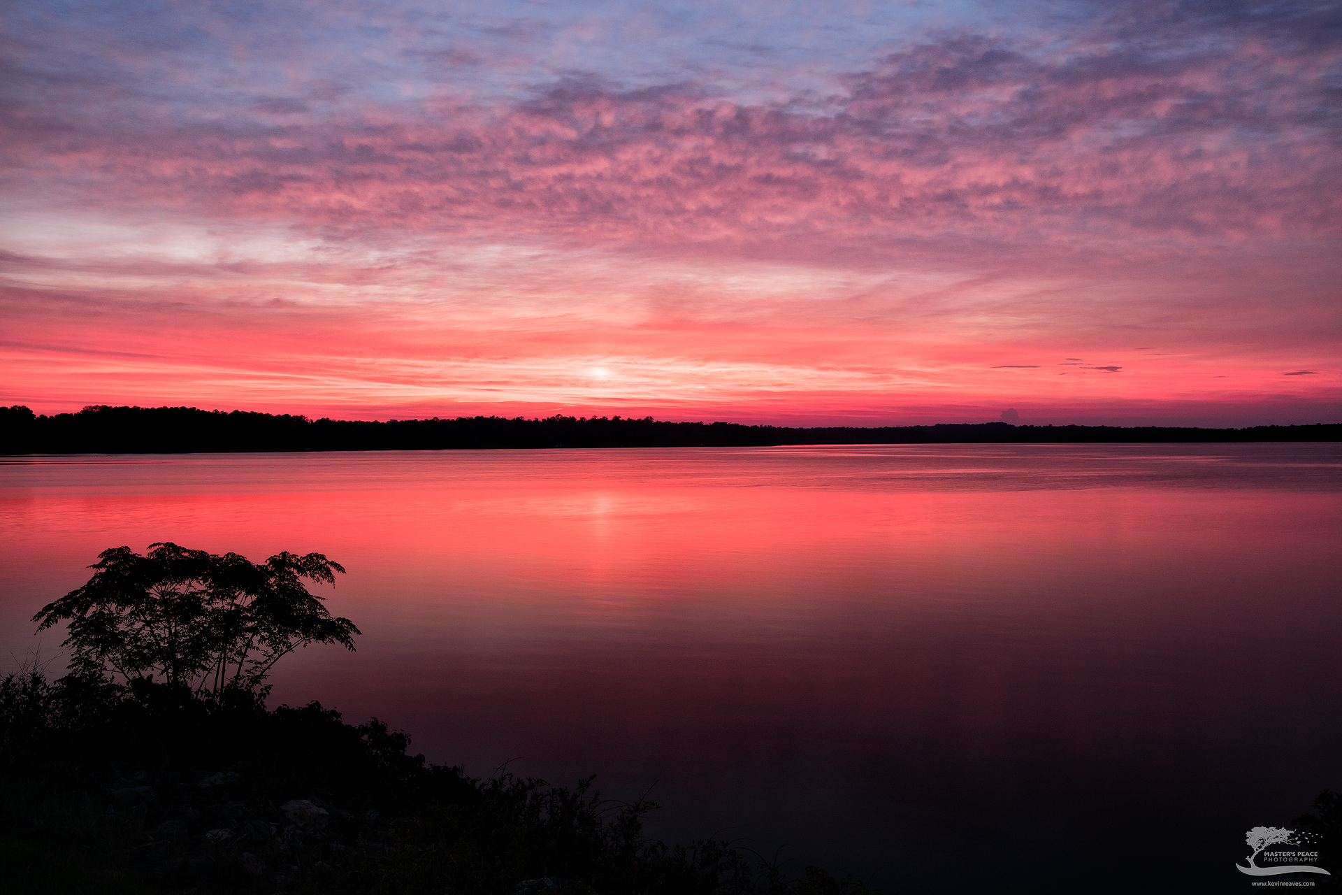 sunset, red, dusk, georgia, lake